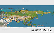 Satellite Panoramic Map of Asia, semi-desaturated, land only
