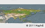 Satellite Panoramic Map of Asia, semi-desaturated