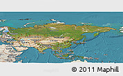 Satellite Panoramic Map of Asia, shaded relief outside, satellite sea