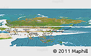 Satellite Panoramic Map of Asia, single color outside