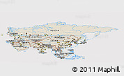 Shaded Relief Panoramic Map of Asia, cropped outside