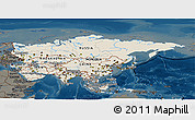 Shaded Relief Panoramic Map of Asia, darken