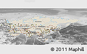 Shaded Relief Panoramic Map of Asia, desaturated
