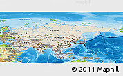 Shaded Relief Panoramic Map of Asia, physical outside
