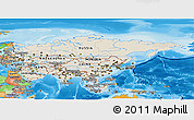 Shaded Relief Panoramic Map of Asia, political outside, shaded relief sea