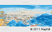 Shaded Relief Panoramic Map of Asia, political shades outside, shaded relief sea