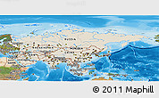 Shaded Relief Panoramic Map of Asia, satellite outside, shaded relief sea