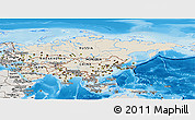 Shaded Relief Panoramic Map of Asia, semi-desaturated, land only