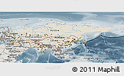 Shaded Relief Panoramic Map of Asia, semi-desaturated