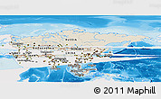 Shaded Relief Panoramic Map of Asia, single color outside