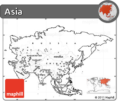 Blank Map Of Asia With Numbers.Free Blank Simple Map Of Asia Cropped Outside