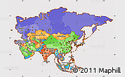 Political Simple Map of Asia, cropped outside
