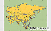 Savanna Style Simple Map of Asia, cropped outside