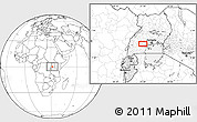 """Blank Location Map of the area around 0°10'31""""N,31°31'29""""E"""