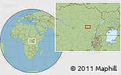 "Savanna Style Location Map of the area around 0°42'2""N,28°7'30""E"