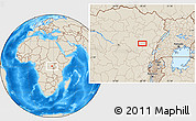 """Shaded Relief Location Map of the area around 0°42'2""""N,28°7'30""""E"""