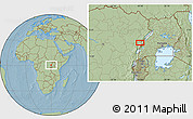 """Savanna Style Location Map of the area around 0°42'2""""N,29°49'30""""E, hill shading"""