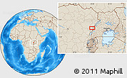 """Shaded Relief Location Map of the area around 0°42'2""""N,29°49'30""""E"""