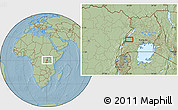 """Savanna Style Location Map of the area around 0°42'2""""N,30°40'29""""E, hill shading"""