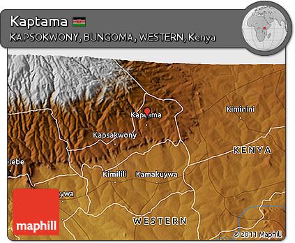 Free Physical 3D Map of Kaptama