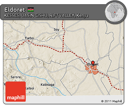Free Shaded Relief 3D Map of Eldoret