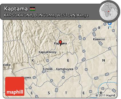 Free Shaded Relief Map of Kaptama