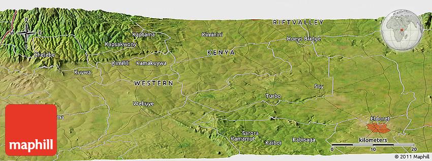 Satellite Panoramic Map of Eldoret