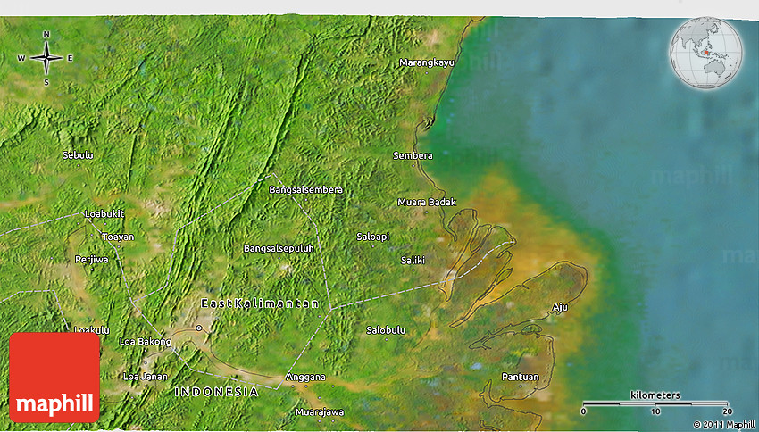 Satellite 3D Map of Samarinda