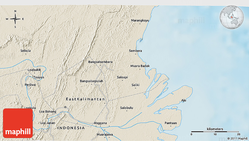 Shaded Relief 3D Map of Samarinda