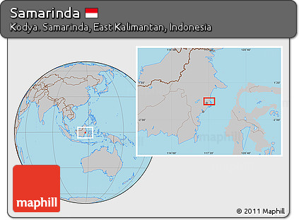 Free Gray Location Map of Samarinda