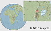 """Savanna Style Location Map of the area around 0°21'0""""S,29°49'30""""E, hill shading"""