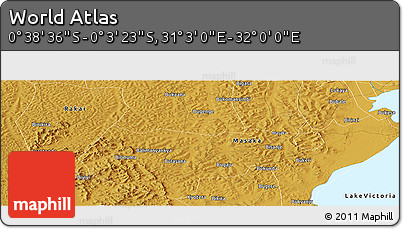 """Physical Panoramic Map of the Area around 0°21'0""""S,31°31'29""""E"""