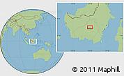"Savanna Style Location Map of the area around 0°52'31""S,113°58'29""E"