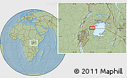 """Savanna Style Location Map of the area around 0°52'31""""S,31°31'29""""E, hill shading"""