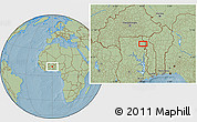 """Savanna Style Location Map of the area around 10°7'21""""N,0°4'30""""E, hill shading"""