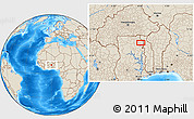 """Shaded Relief Location Map of the area around 10°7'21""""N,0°4'30""""E"""