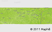 """Physical Panoramic Map of the area around 10°7'21""""N,0°4'30""""E"""