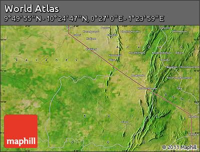 "Satellite Map of the Area around 10°7'21""N,0°55'29""E"