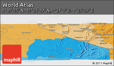 """Political Panoramic Map of the Area around 10°7'21""""N,0°55'29""""E"""