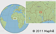 """Savanna Style Location Map of the area around 10°7'21""""N,0°46'30""""W"""