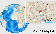 """Shaded Relief Location Map of the area around 10°7'21""""N,0°46'30""""W"""