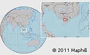 Gray Location Map of Long Xuyên, hill shading
