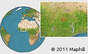 Satellite Location Map of Wa
