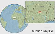 Savanna Style Location Map of Wa, hill shading