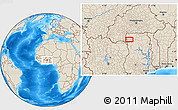 Shaded Relief Location Map of Wa