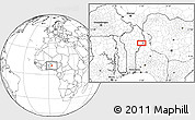 """Blank Location Map of the area around 10°7'21""""N,3°28'30""""E"""