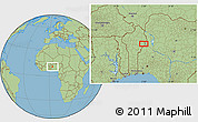 "Savanna Style Location Map of the area around 10°7'21""N,3°28'30""E"