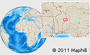 """Shaded Relief Location Map of the area around 10°7'21""""N,3°28'30""""E"""