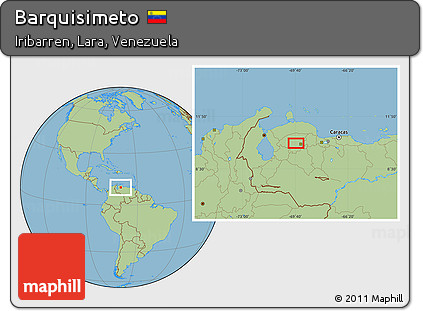 Free Savanna Style Location Map of Barquisimeto