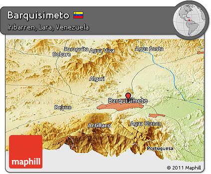 Free Physical Panoramic Map of Barquisimeto